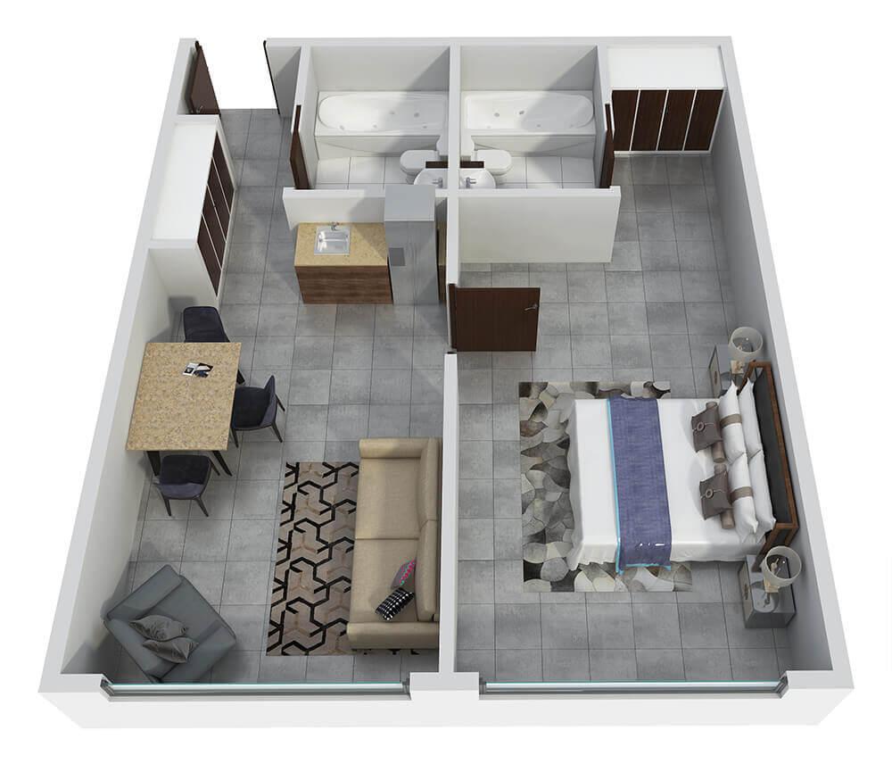Wildpine Residence Suite 441 - 3D Rendering